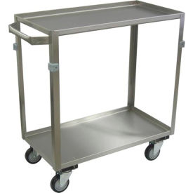 """Jamco Stainless Steel Cart ZE124 2 Shelf 24x16 4"""" Casters Stainless Rigs"""