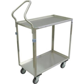 "Stainless Steel Cart, 2 Shelf, Ergo Handle, All Lips Up, 30""Lx16""W 4"" Casters Stainless Rigs"
