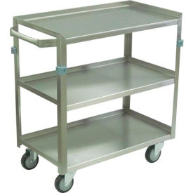 """Jamco Stainless Steel Cart ZJ124 3 Shelf 24x16 4"""" Casters Stainless Rigs"""