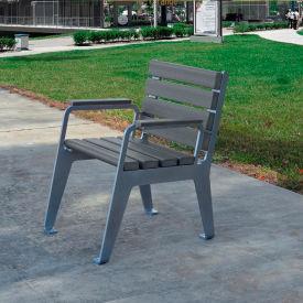 Jayhawk Plastics Recycled Plastic Plaza Patio Chair - Silver Frame with Gray Slats