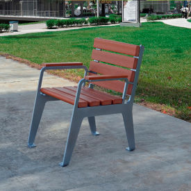 Jayhawk Plastics Recycled Plastic Plaza Patio Chair - Silver Frame with Redwood Slats