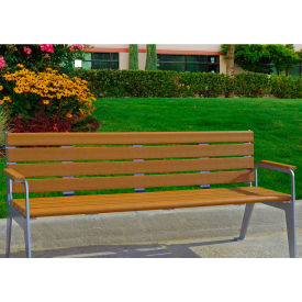 Jayhawk Plastics Recycled Plastic 6 ft. Plaza Bench - Silver Frame with Cedar Slats