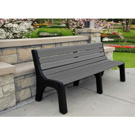 Jayhawk Recycled Plastic 6 ft. Bench with Back - Newport Series - Gray