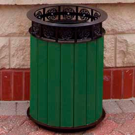 Jamestown Receptacle, Recycled Plastic, 20 Gal., Green