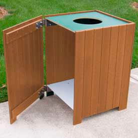 Standard Square Receptacle, Recycled Plastic, 20 Gal., Cedar