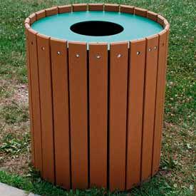Standard Round Receptacle, Recycled Plastic, 32 Gal., Cedar