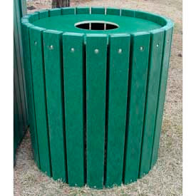 Heavy Duty Round Receptacle, Recycled Plastic, 32 Gal., Green