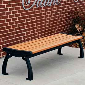 Heritage Backless Bench, Recycled Plastic, 4 ft, Black Frame, Cedar