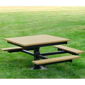 T-Table, Recycled Plastic, 4 ft, Cedar, ADA