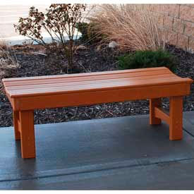 Garden Bench, Recycled Plastic, 4 ft, Cedar
