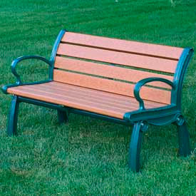 Heritage Bench, Recycled Plastic, 4 ft, Green Frame, Cedar