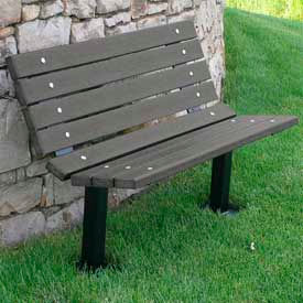 Contour Bench, Recycled Plastic, 4 ft, In Ground Mount, Gray
