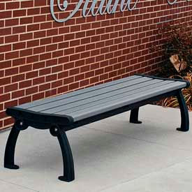 Heritage Backless Bench, Recycled Plastic, 4 ft, Black Frame, Gray