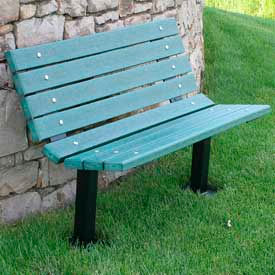 Contour Bench, Recycled Plastic, 4 ft, In Ground Mount, Green