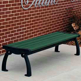 Heritage Backless Bench, Recycled Plastic, 4 ft, Black Frame, Green