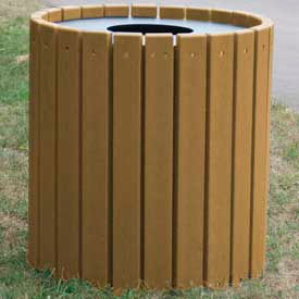 Heavy Duty Round Receptacle, Recycled Plastic, 55 Gal., Cedar