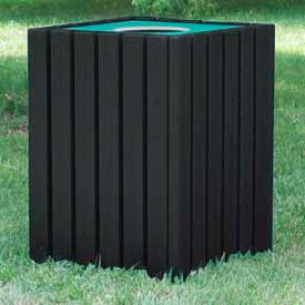 Heavy Duty Square Receptacle, Recycled Plastic, 55 Gal., Black