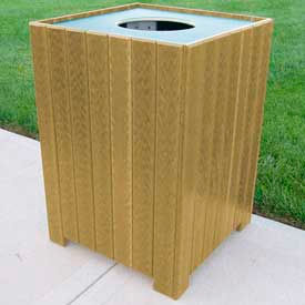 Standard Square Receptacle, Recycled Plastic, 55 Gal., Cedar