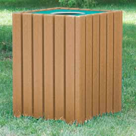 Heavy Duty Square Receptacle, Recycled Plastic, 55 Gal., Cedar