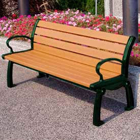 Heritage Bench, Recycled Plastic, 5 ft, Green Frame, Cedar