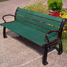 Heritage Bench, Recycled Plastic, 5 ft, Black Frame, Green