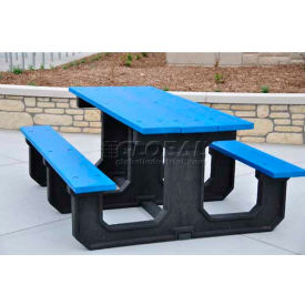 Frog Furnishings Recycled Plastic 6 ft. Park Place Picnic Table, Blue by
