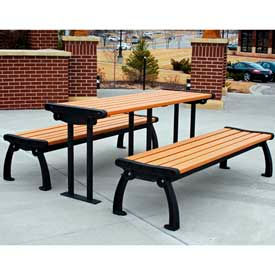 Heritage Table, Recycled Plastic, 6 ft, Black Frame, Cedar