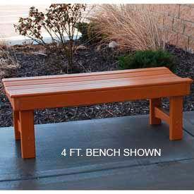 Garden Bench, Recycled Plastic, 6 ft, Cedar