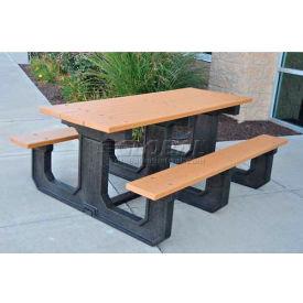 Jayhawk Recycled Plastic 6 Ft. Park Place Picnic Table, Cedar