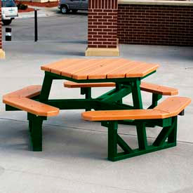 Hex Table, Recycled Plastic, 6 ft, Green Frame, Cedar