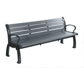 Heritage Bench, Recycled Plastic, 6 ft, Black Frame, Gray