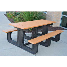 Frog Furnishings Recycled Plastic 6 ft. Park Place Picnic Table, Gray by