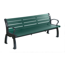 Heritage Bench, Recycled Plastic, 6 ft, Black Frame, Green