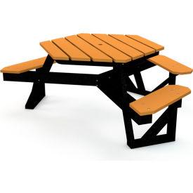 Hex Table, Recycled Plastic, 6 ft, Black Frame, Cedar, ADA