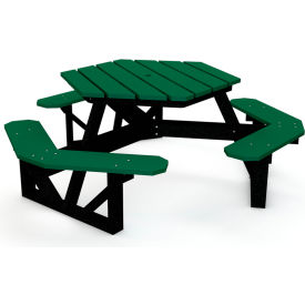 Hex Table, Recycled Plastic, 6 ft, Black Frame, Green