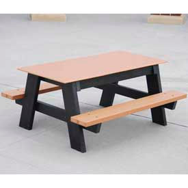 Kids Picnic Table, Recycled Plastic, 4 ft, Cedar