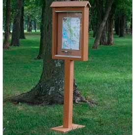 "Jayhawk Plastics Small Message Center, Recycled Plastic, One Side, One Posts, Cedar, 26""W x 20""H"