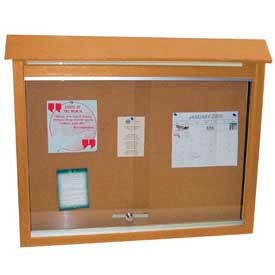 "Jayhawk Plastics Medium Message Center, Recycled Plastic, One Side, No Posts, Cedar, 36""W x 26""H"