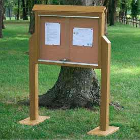"Jayhawk Plastics Medium Message Center, Recycled Plastic, Two Sides, Two Posts, Cedar, 36""W x 26""H"