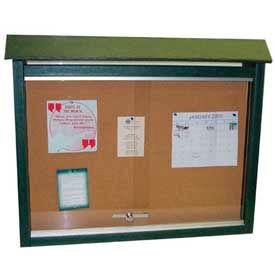 "Jayhawk Plastics Medium Message Center, Recycled Plastic, One Side, No Posts, Green, 36""W x 26""H"
