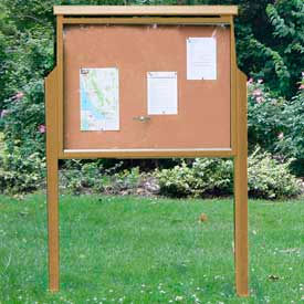 "Jayhawk Plastics Large Message Center, Recycled Plastic, One Side, Two Posts, Cedar, 51""W x 36""H"