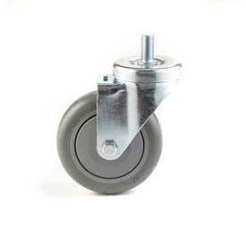 """General Duty Swivel Threaded Stem Caster 2-1/2"""" Poly Wheel, Nylon Bearing, 1/2 x 2 Stem, Black"""
