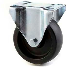 "HD Rigid Caster 4"" Mold On Rubber on Cast Iron Wheel, Delrin Bearing, 4""x4-1/2"" Plate, Black"