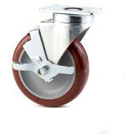 "GD Swivel Plate 5"" PU on PP Wheel Total Lock Brake, Dual Ball Bearing, 3-1/8""x4-1/8"" Plate, Maroon"