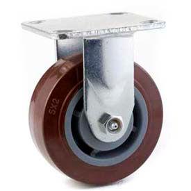 "Heavy Duty Rigid Caster 5"" Polypropylene Wheel, Delrin Bearing, 4"" x 4-1/2"" Plate, Black"
