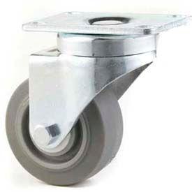 """Heavy Duty Swivel Caster 5"""" TPR Wheel Tread Brake, Delrin Bearing, 4"""" x 4-1/2"""" Plate, Grey"""