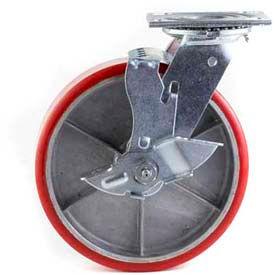 "HD Swivel Caster 5"" PU on Cast Iron Wheel Nylon Brake, Roller Bearing, 4""x4-1/2"" Plate, Red"