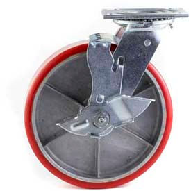 "HD Swivel Caster 5"" PU on Cast Iron Wheel Tread Brake, Roller Bearing, 4""x4-1/2"" Plate, Red by"