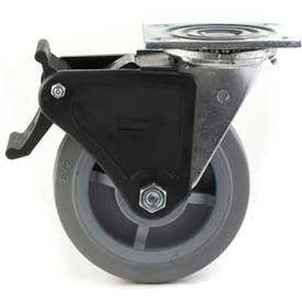 "Heavy Duty Swivel Caster 8"" TPR Wheel Total Lock Brake, Roller Bearing, 4"" x 4-1/2"" Plate, Grey by"