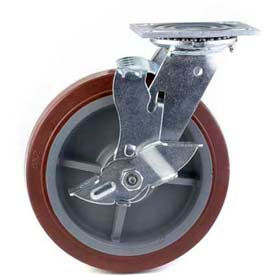 "HD Swivel Caster 8"" PU on Aluminum Wheel Total Lock Brake, Roller Bearing, 4""x4-1/2"" Plate, Red by"